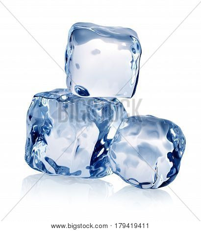 Tree blocks of ice cubes isolated on a white background