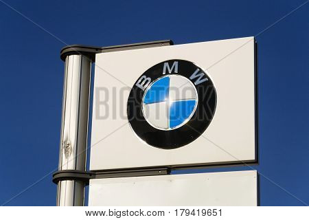 Prague, Czech Republic - March 31: Bmw Car Company Logo In Front Of Dealership Building On March 31,