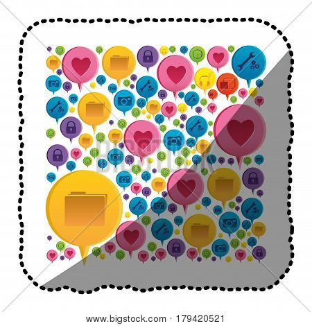 sticker colorful pattern formed by dialogue social icons vector illustration