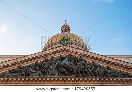 The front of St. Isaac's Cathedral with sculptures in St. Petersburg