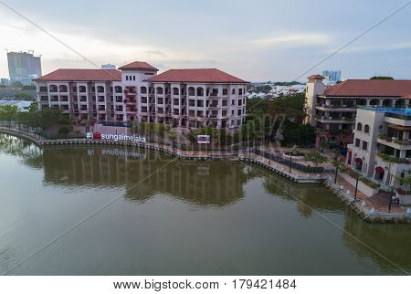 MARCH 30 2017: Arial View Historical part of the old Malaysian town in Malacca. It was listed as a UNESCO World Heritage Site together with George Town on 2008.