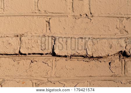 Old wall of bricks dull colors. Abstract photo.