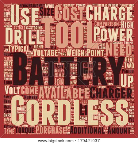 Cordless Tools Guide text background wordcloud concept