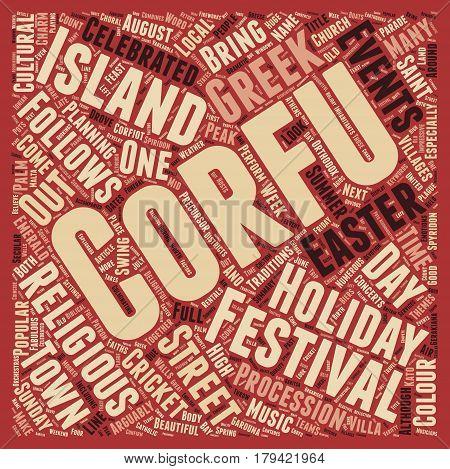 Corfu s Fabulous Festivals text background wordcloud concept