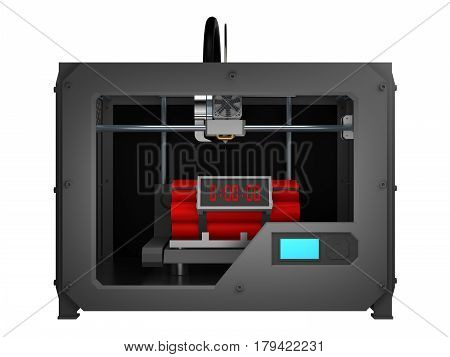 time bomb in 3d printer isolated on white. 3d rendering