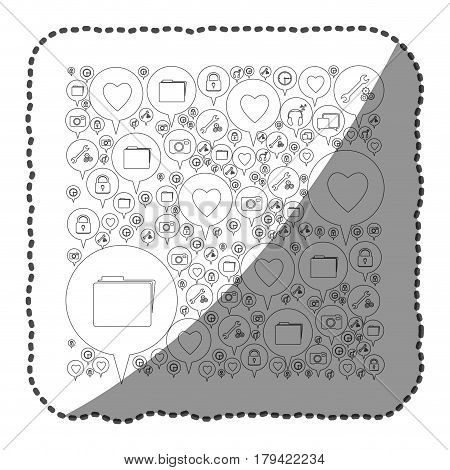 sticker monochrome pattern formed by dialogue social icons vector illustration