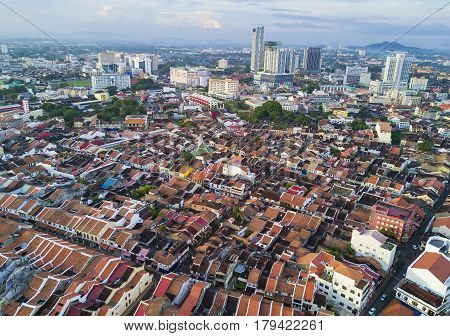 Malacca, Malaysia - Jan 30, 2017 : Top View Of Beautiful Malacca Town. Malacca Has Been Listed As A