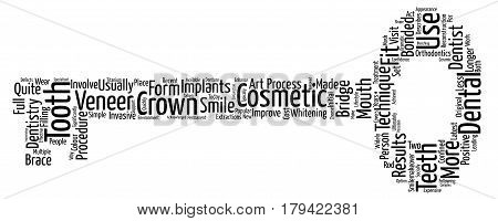 Cosmetic Dentistry Latest Techniques Explained Word Cloud Concept Text Background