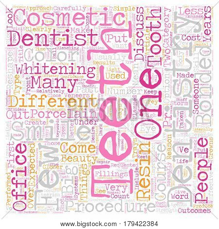Cosmetic Dentistry A Closer Look text background wordcloud concept
