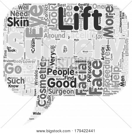 Cosmetic Surgery a review of facial surgery with personal experiences text background wordcloud concept