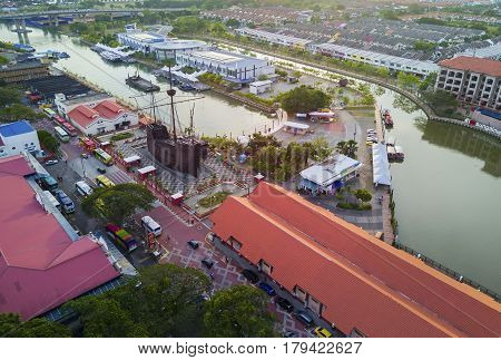 Malacca, Malaysia - March 12, 2017: Arial View Malacca Maritime Museum At Malacca City On August 12,