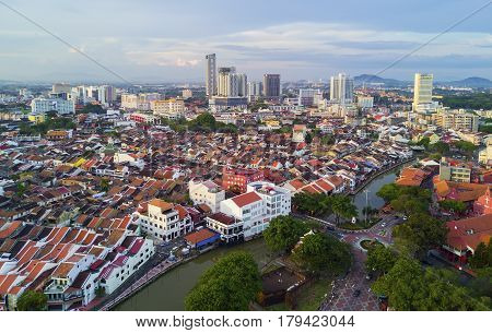 March 30, 2017: Arial View Historical Part Of The Old Malaysian Town In Malacca. It Was Listed As A