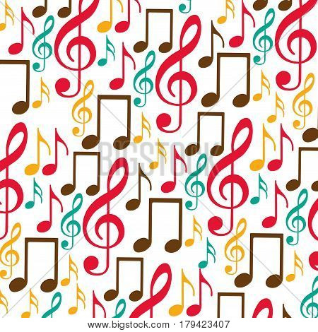 colorful background with pattern of musical notes icons vector illustration