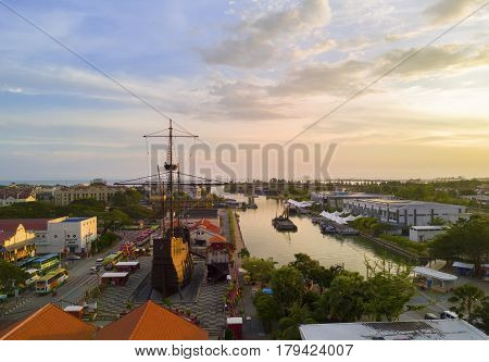 Melaka Malaysia - March 22 2016: Arial view Exterior of Malacca Maritime Museum or Muzium Samudra. Replica of the 'Flora de La Mar' a Portuguese ship that sank off the coast of Melaka at night.