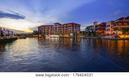 MELAKA MALAYSIA - MARCH24th 2016 - A perspective view of sign with hashtag i at sungai melaka from a boat. The Malacca River which flows through the middle of Malacca City