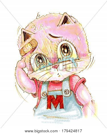 Cute cat crying has sight look very poor and sue His finger pointing to wound Cartoon cute character design pencil color hand drawing.