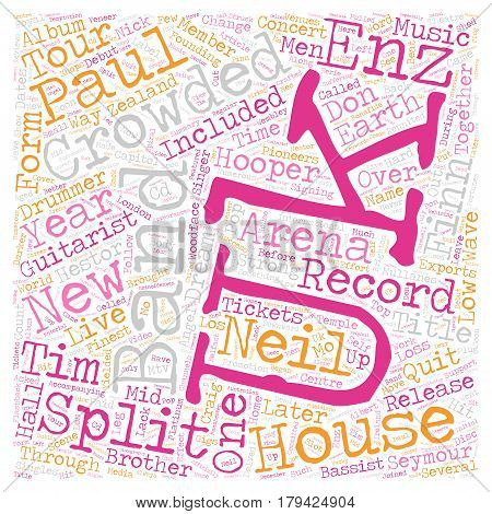 Crowded House Back On The Scene text background wordcloud concept