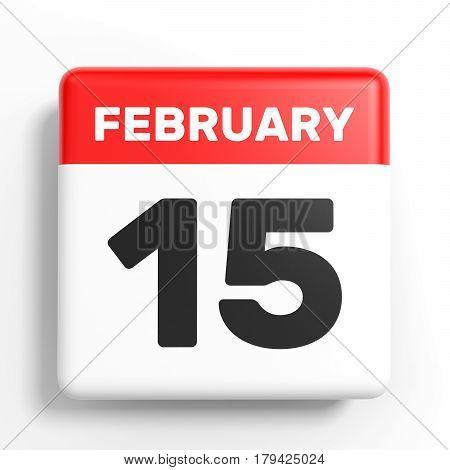 February 15. Calendar On White Background.