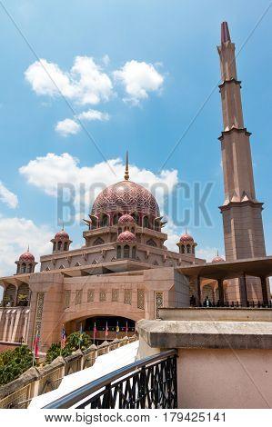 The Beutiful Masjid Putra Mosque In Putrajaya City The New Federal Territory Of Malaysia.