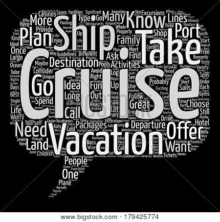 cruise vacations text background word cloud concept