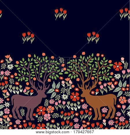 Art Nouveau border with fantasy animals and wildflowers.