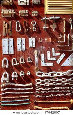 Hardware equipment vintage wood display DIY old store