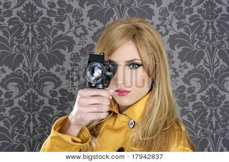 fashion Super 8mm camera reporter woman vintage wallpaper yellow coat