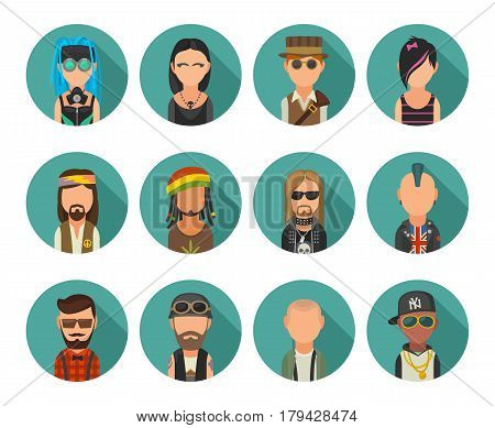 Set icon different subcultures people. Hipster, raper, emo, rastafarian, punk, biker, goth, hippie, metalhead, steampunk, skinhead, cybergoth. Vector flat illustration on turquoise circle.