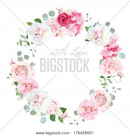 Delicate wedding floral vector design round frame. Beautiful spring bouquet. Peony, rose, hydrangea, camellia, eucalyptus. Colorful objects set. All elements are isolated and editable.