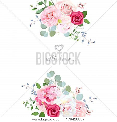 Delicate wedding floral vector design card. Bouquet frame. Peony, rose, hydrangea, camellia, eucalyptus. Colorful objects set. All elements are isolated and editable.