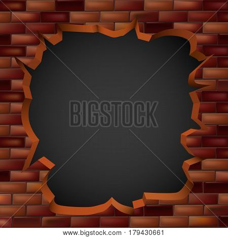 Breaking through a brick wall with a hole. Vector illustration