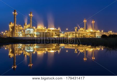 Reflection of Gas turbine power plant with blue hour