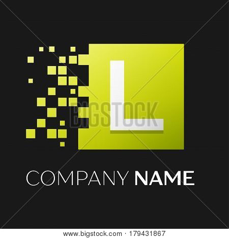 Letter L vector logo symbol in the colorful square with shattered blocks on black background. Vector template for your design