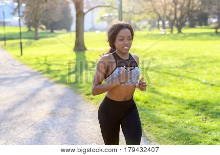 Active Athletic Young Woman Out Jogging