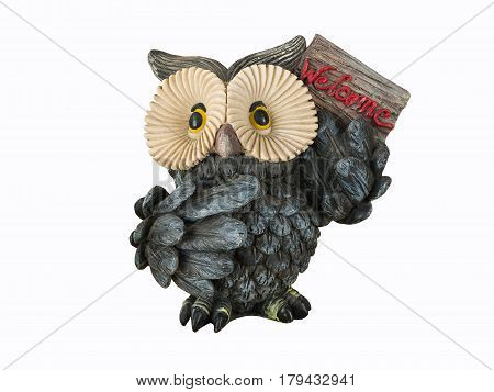 Cute  Owl On White Background.