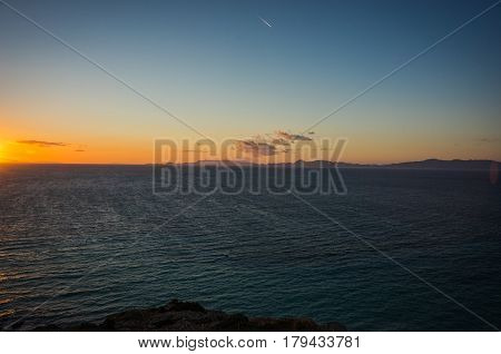 Sunset At The Sea Near Rodos Town In Greece