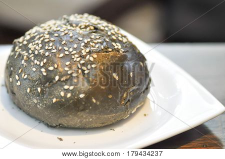 bun or charcoal bun dish on the table