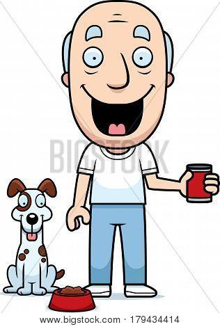 Cartoon Man Feeding Dog