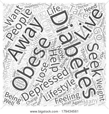 Diabetes and Obesity can Cause Depression Word Cloud Concept
