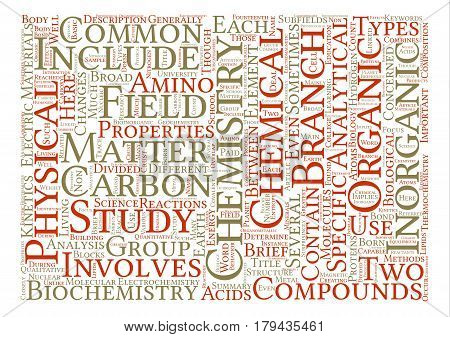 Different Branches Of Chemistry text background word cloud concept