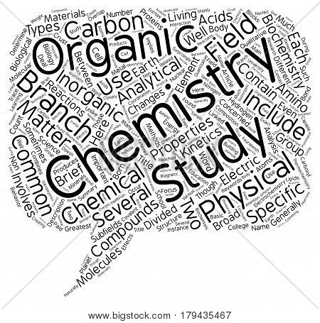 Different Branches Of Chemistry text background wordcloud concept