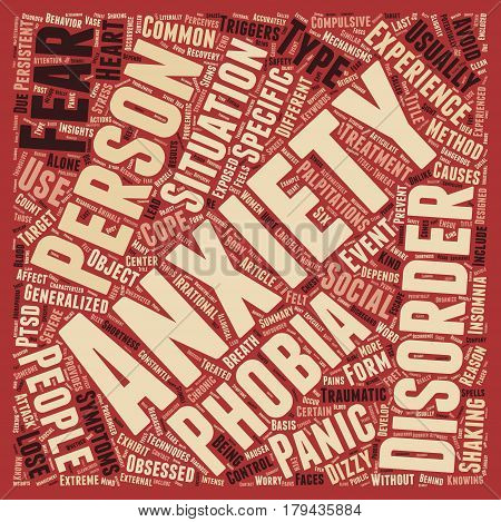 Different Types of Anxiety Disorders text background wordcloud concept