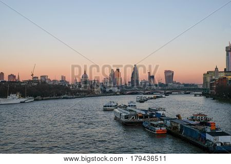 Evening view of London City  from Waterloo Bridge.  A winter shot taken on a  December.