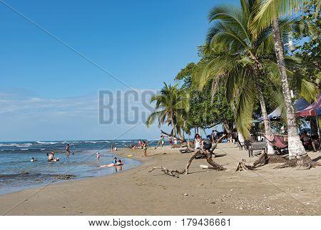 PUERTO VIEJO, COSTA RICAMARCH 18, 2017: Beach of Puerto Viejo de Talamanca, Costa Rica
