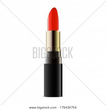 Realistic Lipstick isolated on a white background. Could be used as lipstick mock-up. Vector fashionable lipstick.