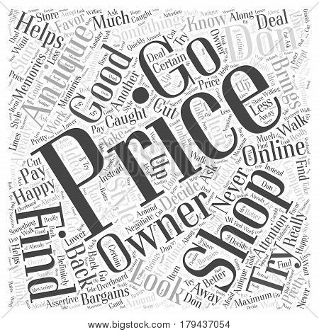 Finding Bargains while shopping for Antiques Word Cloud Concept