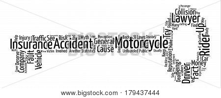 Motorcycle Vs Car Myth or Madness text background word cloud concept