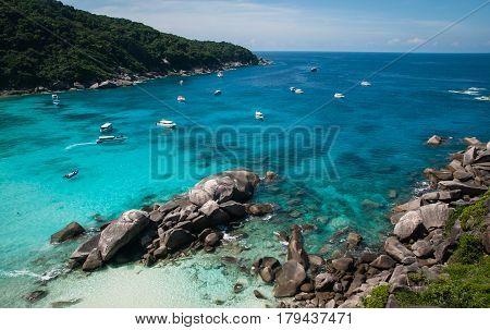 Boats And Yachts In The Bay At Similan Islands, Thailand