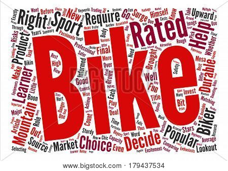 Mountain Bike Ratings A Boon For Mountain Bike Buyers text background word cloud concept