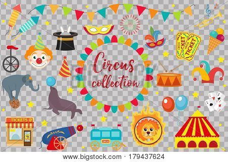 Circus Collection, flat, cartoon style. Set isolated on a white background. Kit with elephant, tent, lion, Sealion, gun, clown, tickets Design elements Vector illustration clip art
